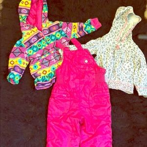 Other - 2 jackets girls 12-18 Months and snowsuit pink